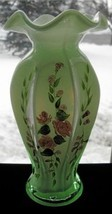 Fenton Green Cased Hand Painted Vase - $40.00