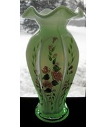 Fenton Green Cased Hand Painted Vase - $40.00