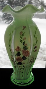 Fenton Green Cased Hand Painted Vase