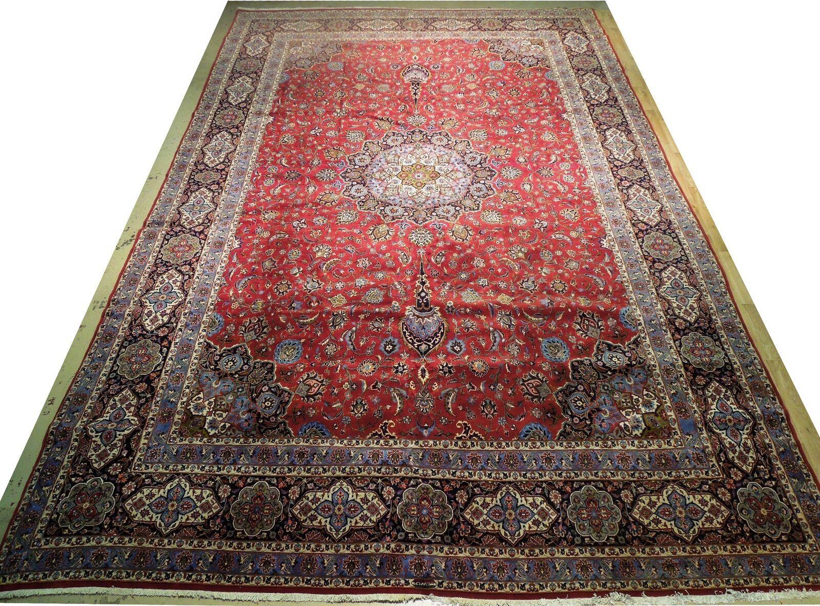 11x17 Red Traditional Handmade Fine Quality Sheik Safi Najaf Persian Rug