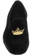 Handmade Men's Black Velvet Embroidered Slip Ons Loafer Shoes image 5
