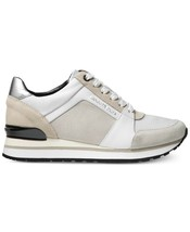 Michael Kors MK Women's Billie Trainer Suede Sneakers Shoes Optic White image 2
