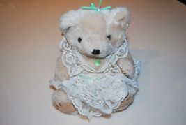 "Vintage White Lace Pearls Teddy Bear Green Heart Bow Plush 6"" Stuffed Animal - $7.50"