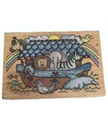 Hero Arts Rubber Stamp Noah's Ark with Rainbow Animals Christian Card Ma... - $12.60