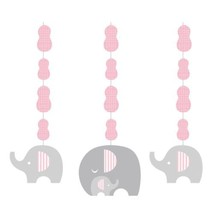 Little Peanut Girl 3 Hanging Cutouts Pink Elephant Baby Shower - $7.93 CAD