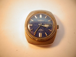 1970 BLUE DIAL CARAVELLE FLUTED BEZEL 11 UKACB AUTOMATIC WATCH FOR RESTO... - $125.00
