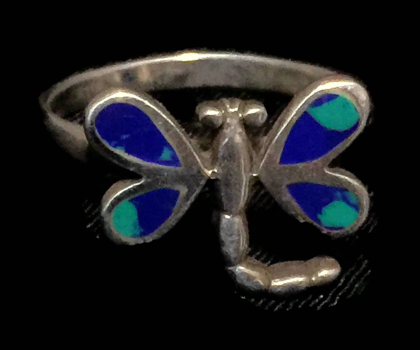Vintage Dragonfly Azurite Sterling Silver Ring Size 6.75