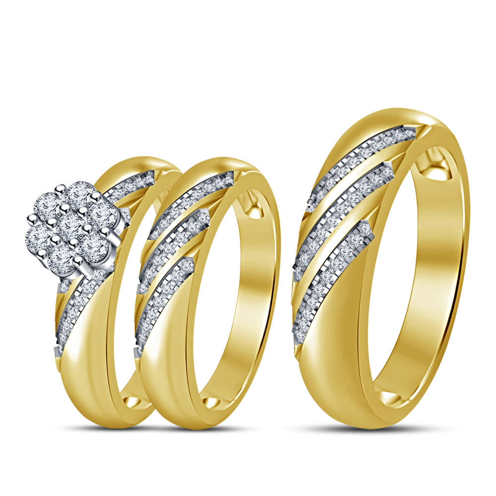 Primary image for His Her Wedding Anniversary Trio Set 14k Gold Finish 925 Sterling Solid Silver