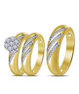 His Her Wedding Anniversary Trio Set 14k Gold Finish 925 Sterling Solid ... - $148.99