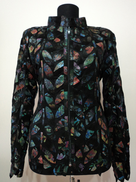 Lower pattern black leather leaf jacket women design 04 genuine short zip up light lightweight 1