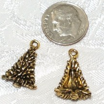 PINE TREE FINE PEWTER PENDANT CHARM - 13x20x6mm image 2