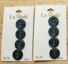"Vintage La Mode Navy Blue 8 Pearlized Buttons 5/8"" #3932 Plastic 2 Hole ... - $8.50"