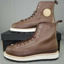 Converse Chuck Taylor Crafted Boot Hi Mens Size Leather 9-Eye Brown White - $99.99