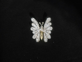 St John Butterfly Brooch Pin Clear Crystals Figural Jewelry Vintage - $61.75