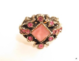 Vintage Silver & Gold Plated Pink Rhinestone Cocktail Ring*Adjustable*A675 - $14.30