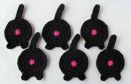 Cat Butt Coasters, Set of 6, Cotton, Black - $35.26 CAD