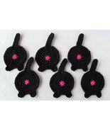 Cat Butt Coasters, Set of 6, Cotton, Black - £21.59 GBP