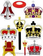 royal crowns scepters cape clipart collage sheet printable graphics digi... - $3.99