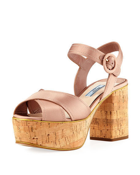 3131f610958 Prada Satin Crisscross Platform Sandal