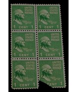 Nice Vintage Small Sheet of 6 One Cent George Washington 1789-1797 Stamp... - $4.94