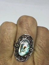 Vintage Celtic Knot 925 Sterling Silver Size 7.75 Genuine Abalone Ring - $95.03
