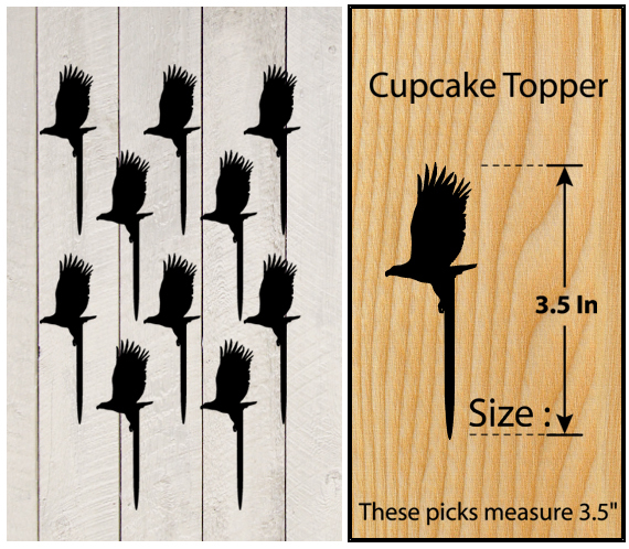 Decorations Wedding,Birthday Cupcake topper,silhouette eagles Package : 10 pcs