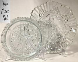 Vintage Federal Glass Pioneer Intaglio Set - Ruffled Edge Bowl + Beaded Dish - $31.83