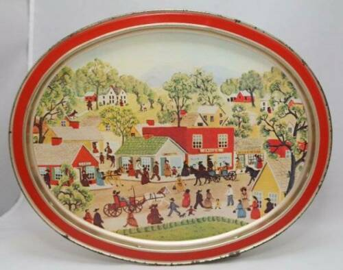 Primary image for Vintage Cookie Tin Top Serving Tray Sunshine Biscuit Co Shopping On Main Street