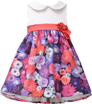 Bonnie Jean Little Girl 2T-4T Satin To Floral Shantung Collar Dress