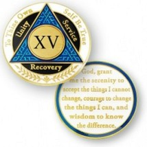 15 YEAR SOBRIETY AA RECOVERY BLUE BLACK WHITE 18K GOLD GP  CHALLENGE COIN - $18.04