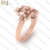 Rose Gold Flower Engagement Ring For Womens Floral Art Nouveau Wedding J... - €81,62 EUR+