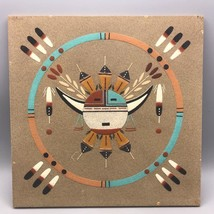 """Navajo Sand Painting Horned Moon Signed 12""""x12"""" - $59.39"""
