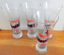Set of 4- 1989 Budweiser Clydesdales glass flute beer glasses Barware, M... - $31.99