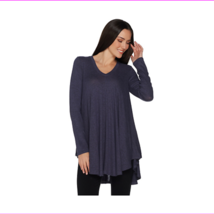 AnyBody Loungewear Brushed Hacci V Neck Swing Top, Frosted Plum, Size S - $12.10