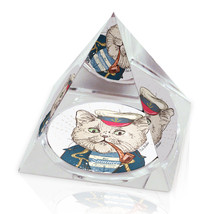 "Hipster Sailor Pipe Smoking Cat Illustration 2"" Crystal Pyramid Paperweight - $15.99"