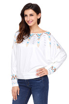 White Printed Batwing Sleeve Skew Neck Blouse - $19.26