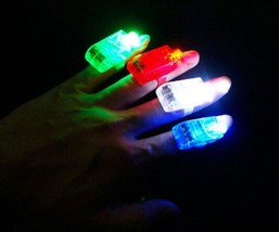 LED FINGER LIGHTS LAMPS PARTY LASER TORCH GLOW RING - RANDOM COLOR image 2