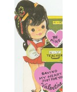 Vintage Valentine Card Girl and File Cabinet 1960s Saving My Heart For You - $7.91