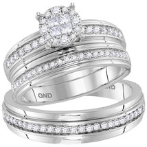 14k White Gold His Hers Diamond Soleil Cluster Matching Bridal Wedding Ring Set - $1,598.00