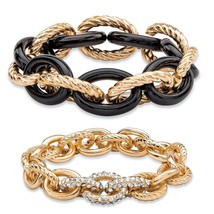 "PalmBeach Jewelry Crystal Gold Tone and Black IP 2-Piece Stretch Bracelet Set 8"" - $17.49"