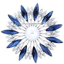 SELOVO Blue Crysal Flower Brooch Simulated Pearl Silver Tone - $19.35