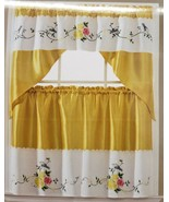 """3pc. Embroidery Curtains Set:2 Tiers(30""""x36"""")& Swag(60""""x36"""") BIRD & FLOW... - $22.76"""