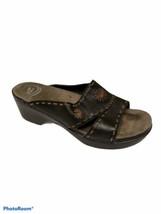 Dansko Sunny Flower Sandal Slides Black Leather Shoes 41 EU 10.5 11 US C... - $21.33