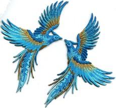 Phoenix phenix birds sky blue sapphire gold appliques iron-on patches S-... - $6.92