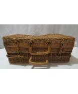 Vtg Suitcase Style Decorative Basket Woven Wicker Rattan Storage Picnic 10x14 - $20.00