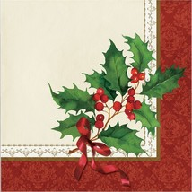 Holly and Berries Sprig Holiday Traditions 16 Ct Luncheon Napkins - $3.99