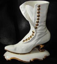 "Large White w/ gold Victorian Shoe Figurine Planter Porcelain 10.5"" - $34.64"