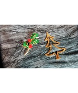 Pair Christmas Brooch/Pendant Signed MYLU, Christmas Tree and Holly Leaf... - $14.01