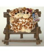 1/2 Price! Hugging Baby Giraffes on Rustic Wood Bench New - $8.00