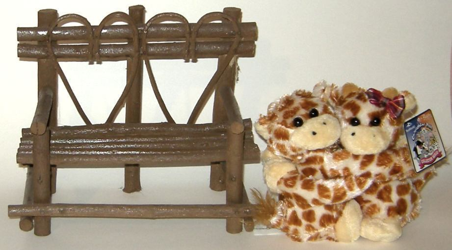 1/2 Price! Hugging Baby Giraffes on Rustic Wood Bench New